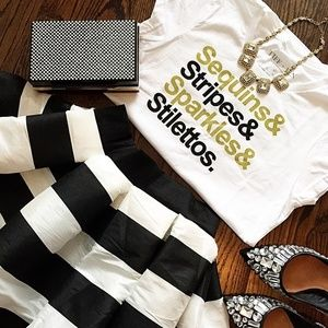 t+j Designs Sequins & Stripes Graphic Tee