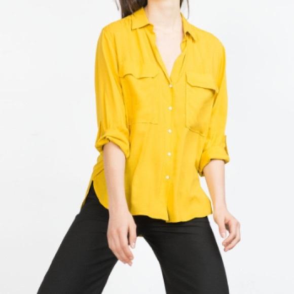 619f4977d Zara - Mustard Shirt with Pockets