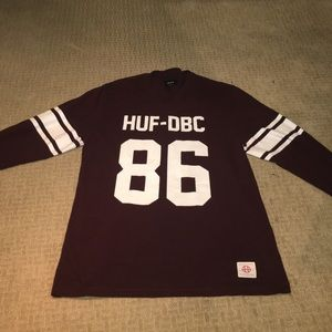 Men's burgundy huf dbc crewneck size large.