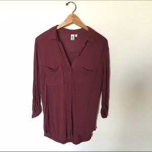 14th & Union Tops - [14 & union] maroon flowy button up