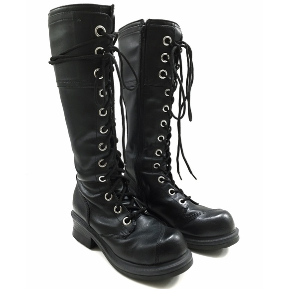8e3f2a81d01 90 s Style Black Goth Lace Up Combat Boots. M 569c51325c12f865e700f114