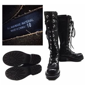 ab7705ae2e4 Vintage Shoes - 90 s Style Black Goth Lace Up Combat Boots