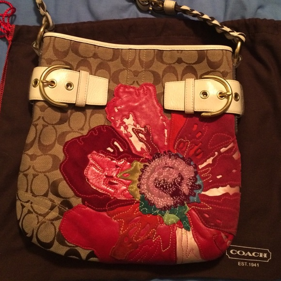 Coach Bags   Purse With Red Flower Appliqu   Poshmark 28b6d39a4c