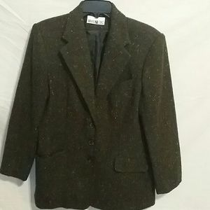 Jackets & Blazers - DARK GREEN SPORTS COAT WITH MULTICOLORED ACCENT