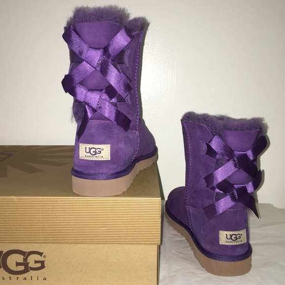d4a32770ae5 Ugg bailey bow boots purple New in box NWT