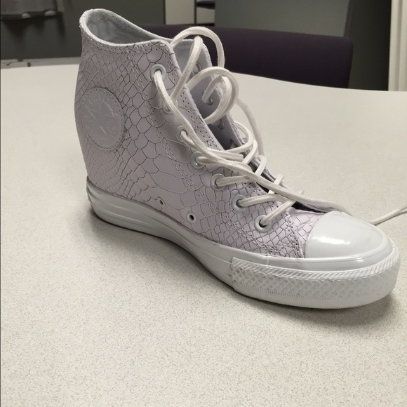 c8bb8ae5421c Converse Shoes - Converse Leather Snakeskin Wedge Sneakers