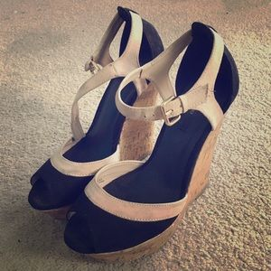 Black and cream FOREVER21 wedges