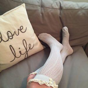 Three Bird Nest Accessories - Gray lace boot socks