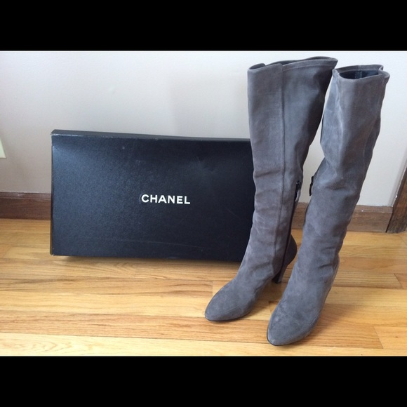 CHANEL Shoes | Chanel Tall Gray Suede