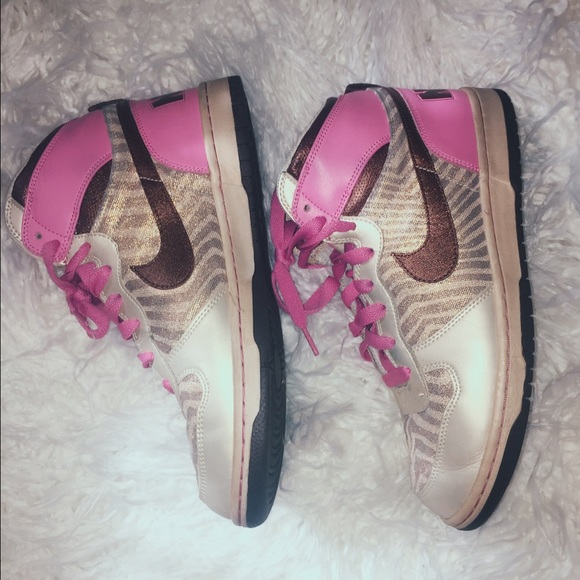 newest collection da502 37fa9 Nike pink and gold metallic hi-tops high tops. M569d1ae87eb29f6c41058c87