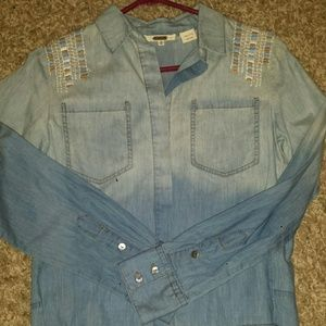 Miss Me Tops - Miss Me chambray shirt