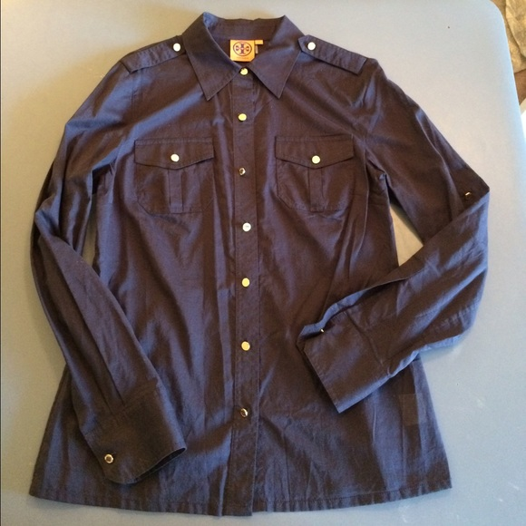 59 off tory burch tops tory burch navy button down with for Tory burch button down shirt