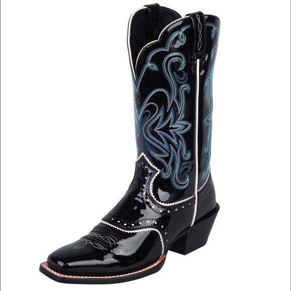 75110c22811 Ariat patent leather cowboy boots black and teal NWT