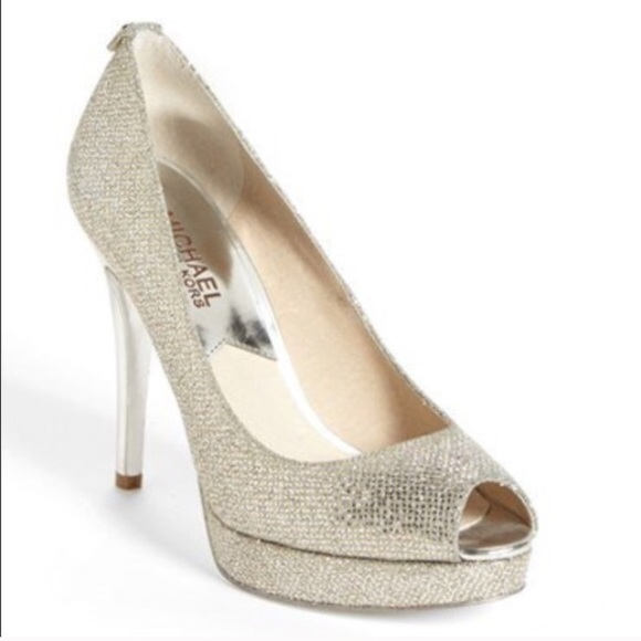 9637ca9d430 Michael Kors gold glitter heels