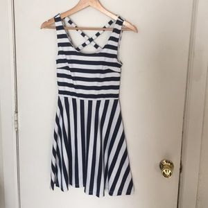 H&M navy and white striped dress