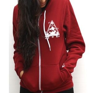 Weekend Society Jackets & Blazers - Red Basecamp Zip Hoodie from Weekend Society
