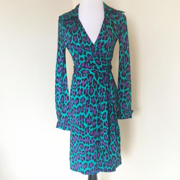 d1912c7eb2 Diane von Furstenberg Dresses   Skirts - Diane von Furstenberg Aqua Leopard  Wrap Dress DVF