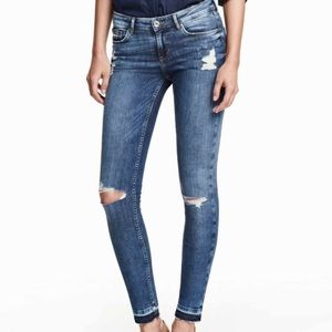 Super Skinny Low Ripped Jeans- Denim Blue