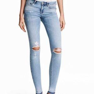 Super Skinny Low Ripped Jeans - Light Denim
