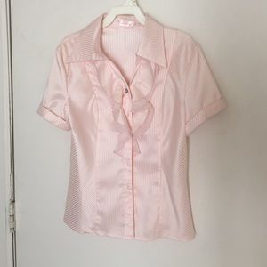 Pink striped ruffled blouse