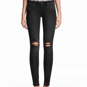 Super Skinny Low Ripped Jeans - Black