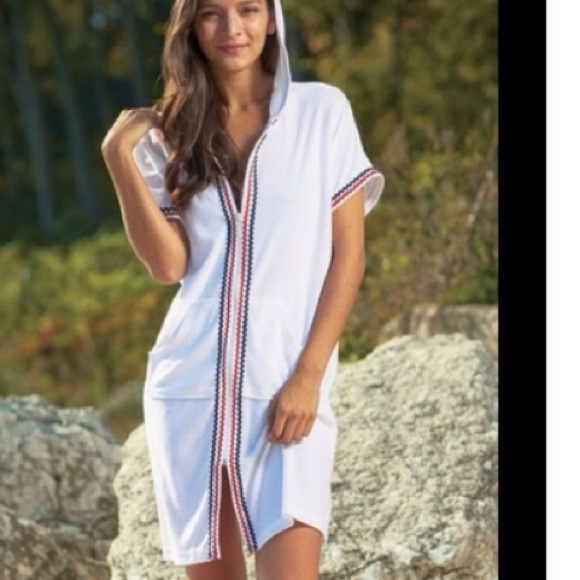 The Antigua Zip Front Hooded Terry Beach Cover Up From