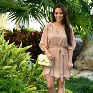 Dresses & Skirts - A blush dress w/ short fluttery sleeves & tiewaist