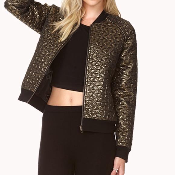 7d8648540 Gold metallic bomber jacket NWT