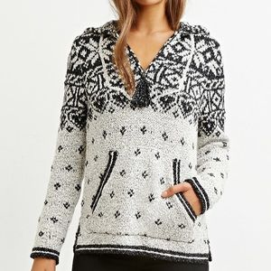 Black & White Hooded Pullover