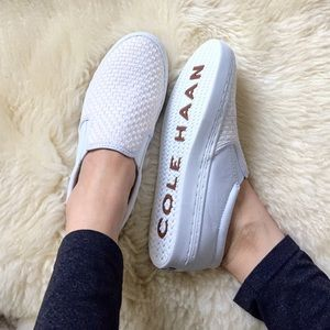 Cole Haan White Slip on sneakers