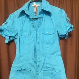 Andrew & Co Tops - Andrew & Co Med Blue Button Belt Top Shirt