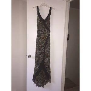 Caché Leopard faux wrap dress