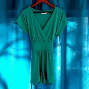 Allegra K Teal Tie Back Romper with Pockets XS