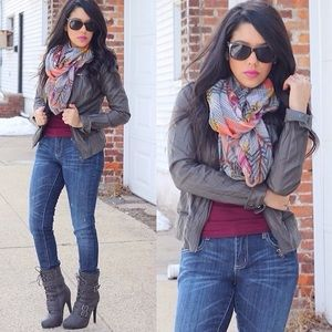 Charlotte Russe Jackets & Blazers - Grey Faux Leather Jacket