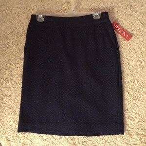 Navy Tweed Pencil Skirt