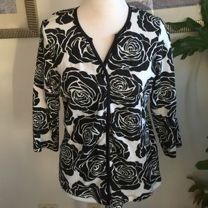 R.E.Q. Tops - Black/white roses cotton blouse