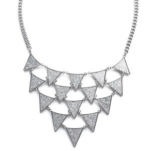 Silver triangles statement necklace