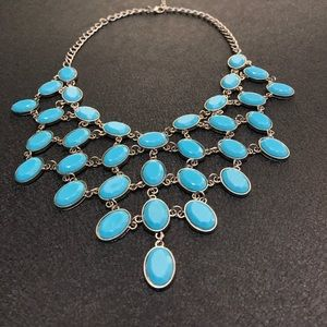 Robins egg sky blue pyramid statement necklace