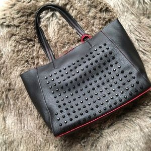 Red/black studded 3-in-1 faux leather tote bag