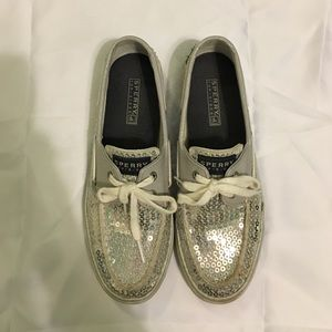 Sperry Top-Sider Shoes - Sperry silver sequin size 7