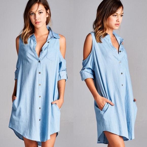 140df9a35a647 🆕CARABELLE open shoulder denim shirt dress