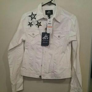 american idol Jackets & Blazers - 🎊♥️♥️White denim jacket with blue stars.