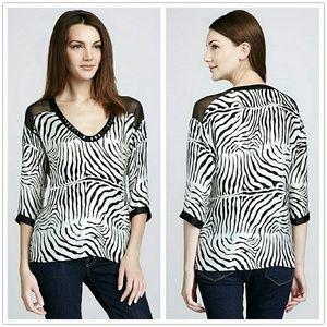 Nanette Lepore Zebra-Print Silk Blouse Top S/M fit