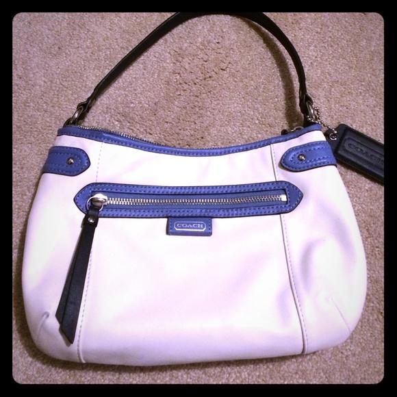 d7c6c04d74 Authentic leather coach bag white and blue