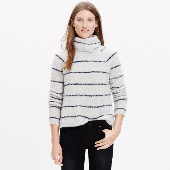 ff73e73b5 Madewell Sweaters | Boucle Stripe Turtleneck Sweater | Poshmark