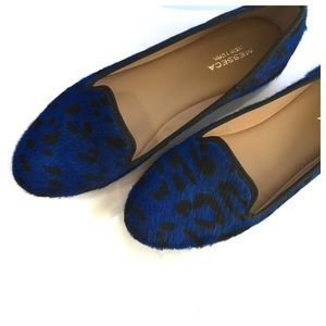 Blue Leopard Loafer Flats Sz 8