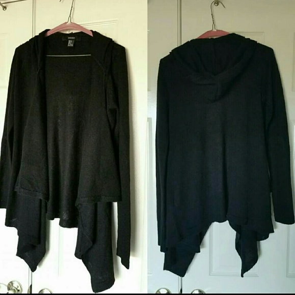 Forever 21 Sweaters - Final SaleBlack Drape Hooded Cardigan Sweater Hood