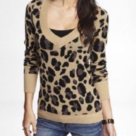 87% off Express Sweaters - Express Leopard V Neck Sweater from ...