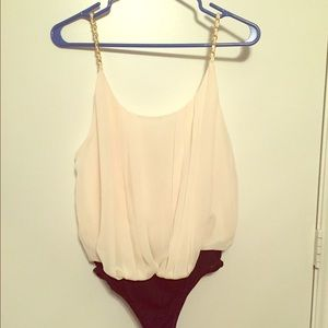 White chiffon blouse with gold chain straps