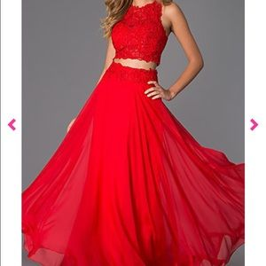 Red Gown, 2 peice , prom dress